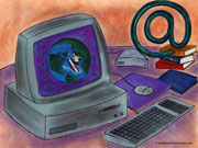 Drawing of computer; Actual size=180 pixels wide